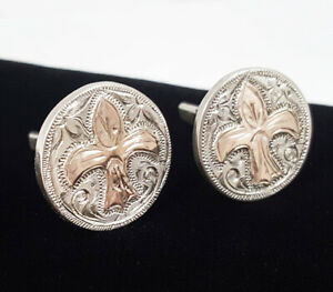VTG Sterling Silver 10K Yellow Gold Mexico Fleur De Lis Etched Round Cufflinks