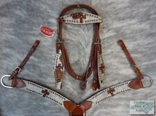 Showman Cowhide w/ Leather Crosses Bridle, Breast Collar and Reins Set! NEW TACK