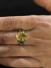 Golden Fluorite & White Topaz Ring set in Sterling Size 9
