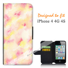 For Apple iPhone 4 4G 4S Wallet Flip Phone Case Cover Pretty Watercolor Y00889