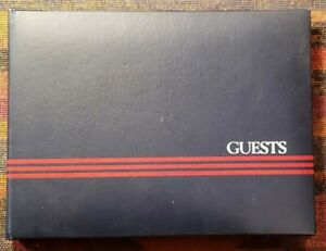 Guest Book ~ Navy Blue with Red Pin Stripes - 40 Pages