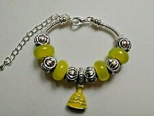 Toddler / Child Handmade Silver Bracelet with an Enamel BELLE DRESS  and Beads