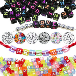 400PCS Mixed Acrylic White Silver Letter Spacer DIY Beads Alphabet Letters