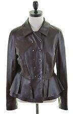 SPORTMAX Womens Leather Jacket Size 12 Medium Brown