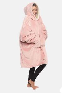 The Comfy Original Sherpa Blanket Hoodie Pink One Size Wearable Blanket