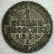 1855 A German States PRUSSIA Silber Groschen XF Silver World Coin