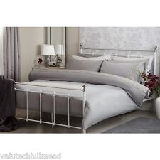 Belledorm Aria Double Duvet Set in Grey 4ft 6 With Lace Effect