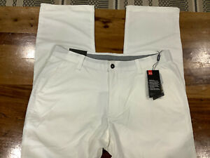 Men's UA Under Armour 1248089 ⛳ Pants 38x32 loose White NWT 1613
