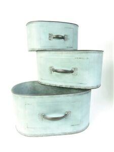 Garden Planters Vintage Grey Green Metal Ornate with handle design choice of siz