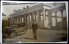 GREECE ~ 1930's ATHENS ~ MAN WITH OLD AUTO IN FRONT OF PANATHENAIC STADIUM~RPPC