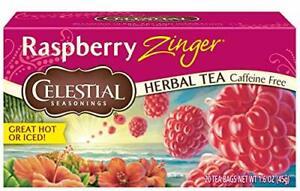 Celestial Seasonings Raspberry Zinger Herbal Tea 20 Count Pack of 6