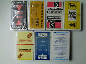 "7x Schafkopf/Tarock/Skat/Spielkarten mit ""verschiedener Werbung"""
