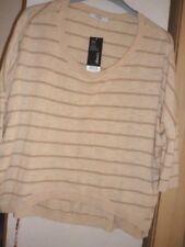 NWT.Ladies fine cotton knit beige stripe jumper short batwing sleeves size 20~