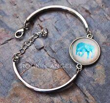 925 Silver Plt Elephant Cabochon Bracelet Bangle Ladies Gift Zoology Animal