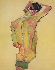 Schiele Egon Seated Male Nude Back View Canvas 16 x 20   #5317