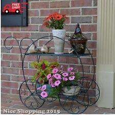 Garden Cart Stands Display Pot Plant Flower 2 Tier Patio Porch Deck Lawn Decor