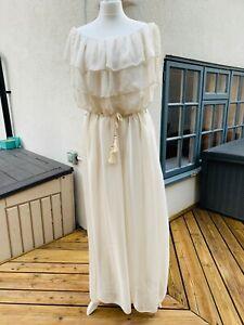 Ladies Cream Silk Maxi Dress, Size 12-16, Off Shoulder, Full Length, Flowing