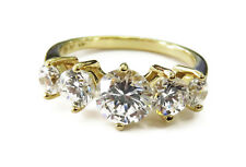 14K Yellow Gold 5 Stone Cubic Zirconia Band Ring ~ 3.5g