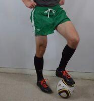 "Vintage New 80s Adidas Mens Small 2"" Nylon Trefoil Soccer Shorts Green White"