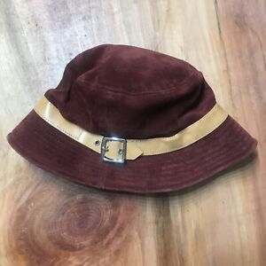 Coach Y2K Vintage Red Suede Leather Belt Buckle Bucket Hat  Small