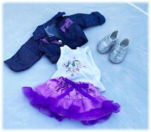 "Funrise Denim Jacket Purple Fringe Skirt Silver Shoes 18"" Dolls American Girl"