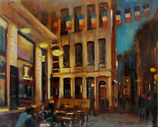 Night Cafe' Brussels, Belgium 16 x20 in. Original Oil on canvas  HALL GROAT II