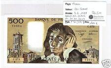 FRANCE 500 FRANCS PASCAL 3.3.1968 ALPHABET C.272 QUALITÉ !!!!!