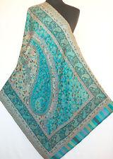 Genuine Hand-Cut Kani Paisley Wool Jamavar Shawl Turquoise Pashmina Stole