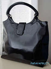 New Lancome Glossy Black Faux Leather Vertical Tote Bag