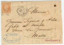 France cover 1866 From Paris to Malta *** Rare destination *** - Steamer