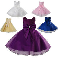 New Flower Girl Party Bridesmaid Wedding Pageant Dress in 5 Colours 18 M-8 Years