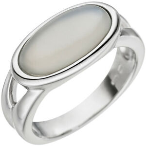 Women's Ring with Real Moonstone Cabochon Oval 585 White Gold Ring