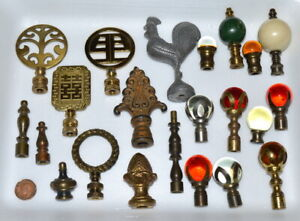 22 Antique Vintage Lamp Finials Brass Glass Wood Cast Rooster Oriental Etc.