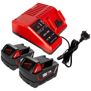 5.0Ah 18V Li-ion Battery & Charger for Milwaukee M18 48-11-1850 48-59-1812 XC