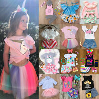 Unicorn Kids Baby Girls Floral Tops Skirt Shorts Pants Outfits Clothes Summer