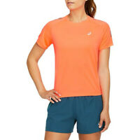Asics Womens Icon Running T Shirt Tee Top Orange Sports Breathable Reflective