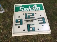 Vintage SALEM R. J. Renolds Cigarette Wall Clock Works Advertising Sign