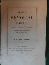 BARON PEYRUSSE, MÉMORIAL  - 1869 -  (Vienne Moscou Île d'Elbe Napoléon Empire)