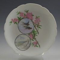 1888 ANTIQUE HAVILAND LIMOGES AESTHETIC PLATE, BIRDS, FLORAL -DATED