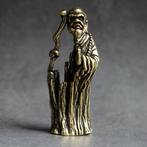 6.1cm China Old Collectable Brass Hand Carved Hollow Bodhidharma Buddha Statue