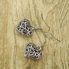 Vintage Tibet Silver Tone Earrings Heart Flower Bead Dangle Women Charms Jewelry