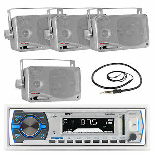"Pyle Marine USB Bluetooth White  Radio,3.5""Silver Box 200W Speakers with Antenna"