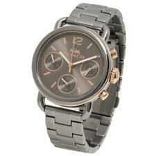 $295 COACH Womens Delancey Gray Sport Chronograph Stainless Steel Watch 14502841