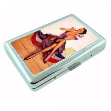 Metal Silver Cigarette Case Holder Classic Vintage Model Pin Up Girl Design-051