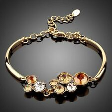 New Swarovski Element Crystal Sparkly Champagne Gold Brown Bracelet Bangle Gift