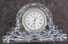 WATERFORD mantle CLOCK crystal TIME battery QUARTZ black GREY ireland HANDS art