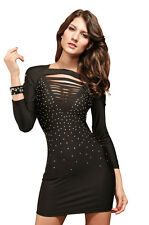 Scorpion Beauty Fashionable Cut-Outs Club Mini Dress Black Medium