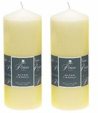 2 x Price's Large Ivory Church Candles Altar Pillar Candle 250mm x 80mm