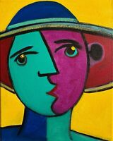 Original Painting Cubist Abstract Portrait Picasso Style Art Decor Signed 8x10""