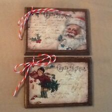 5 Wooden Christmas Ornaments,Winter HangTags,SANTA Gift Tags HANDCRAFTED Set7)